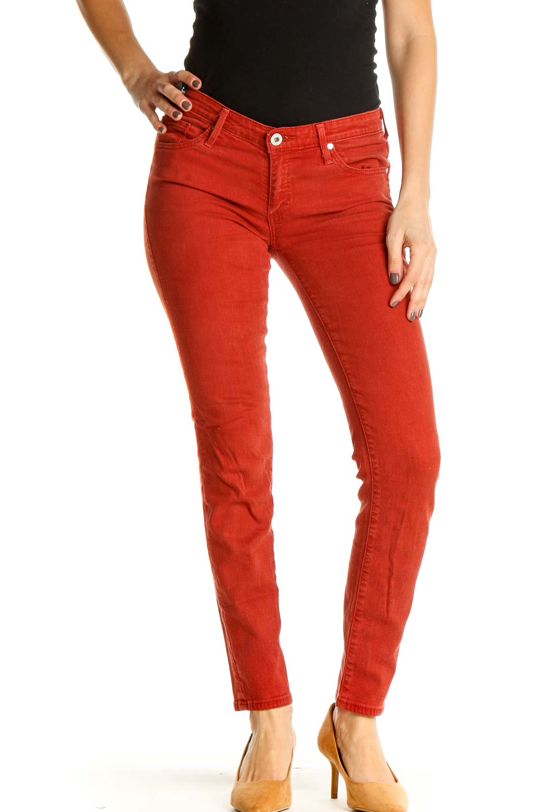 Red Solid Casual Jeans Front