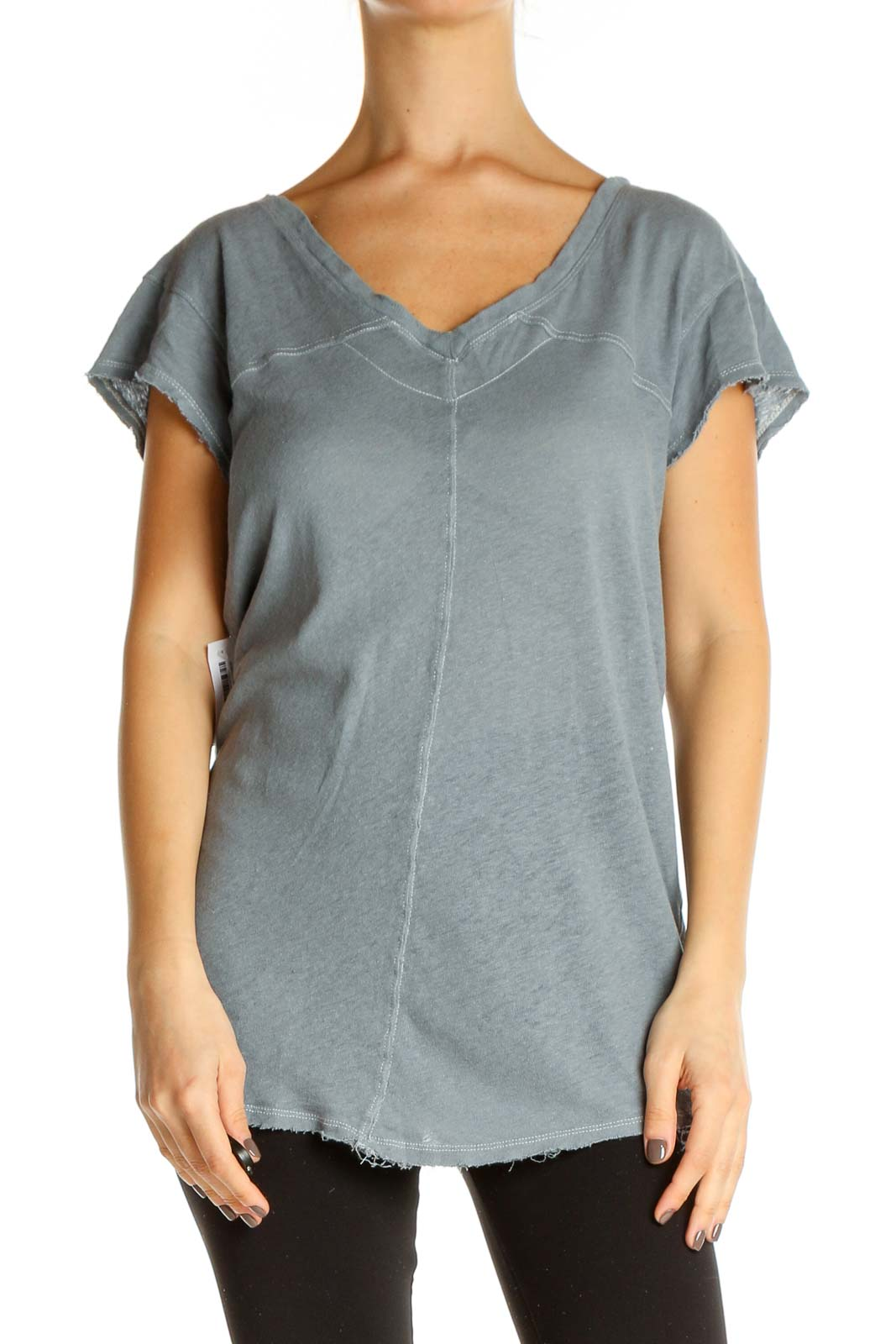 Gray Solid All Day Wear T-Shirt Front