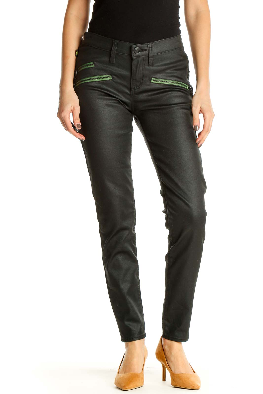 Green Solid Casual Trousers Front