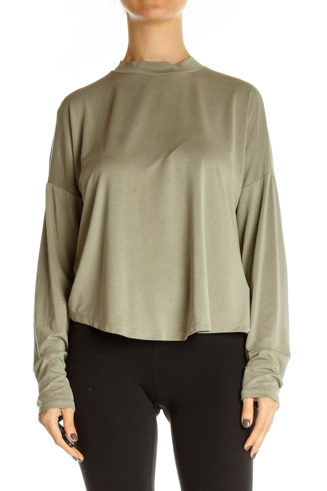 Beige Solid All Day Wear Top Front