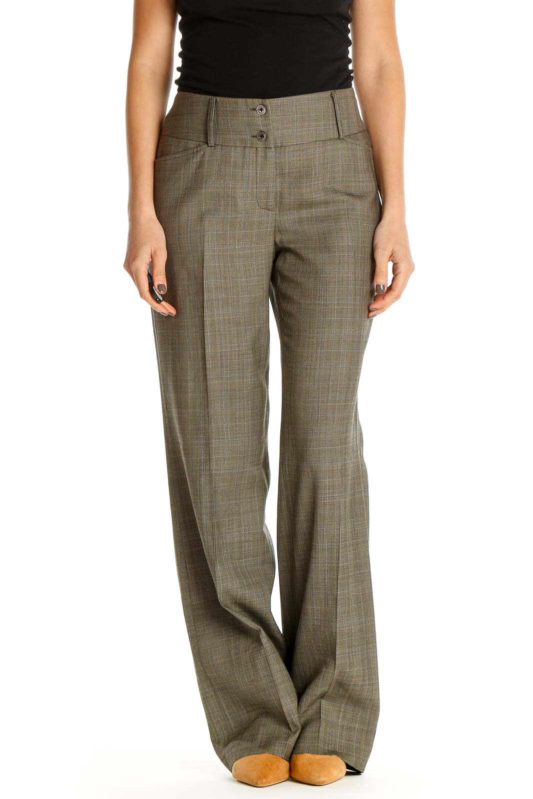 Brown Textured All Day Wear Trousers Front