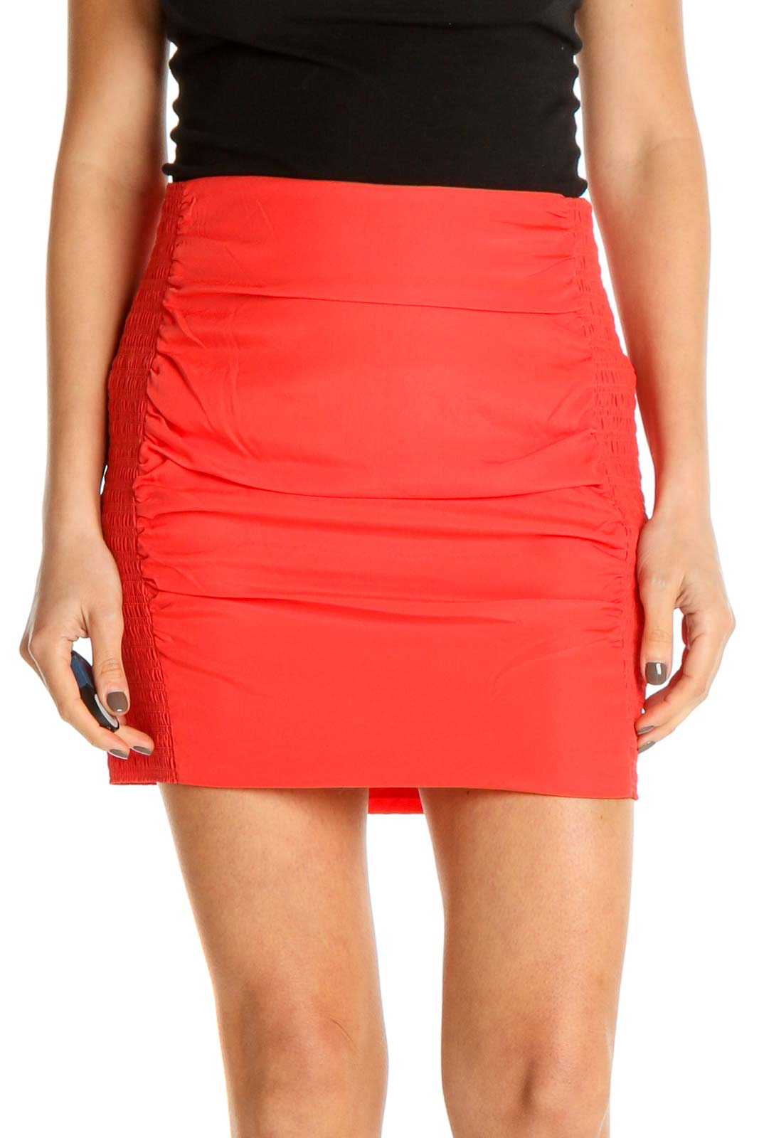 Orange Chic Pencil Skirt Front