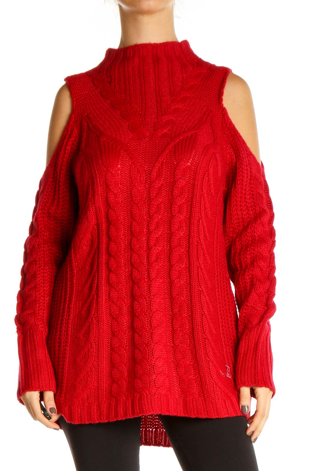 Red Solid All Day Wear Sweater Front