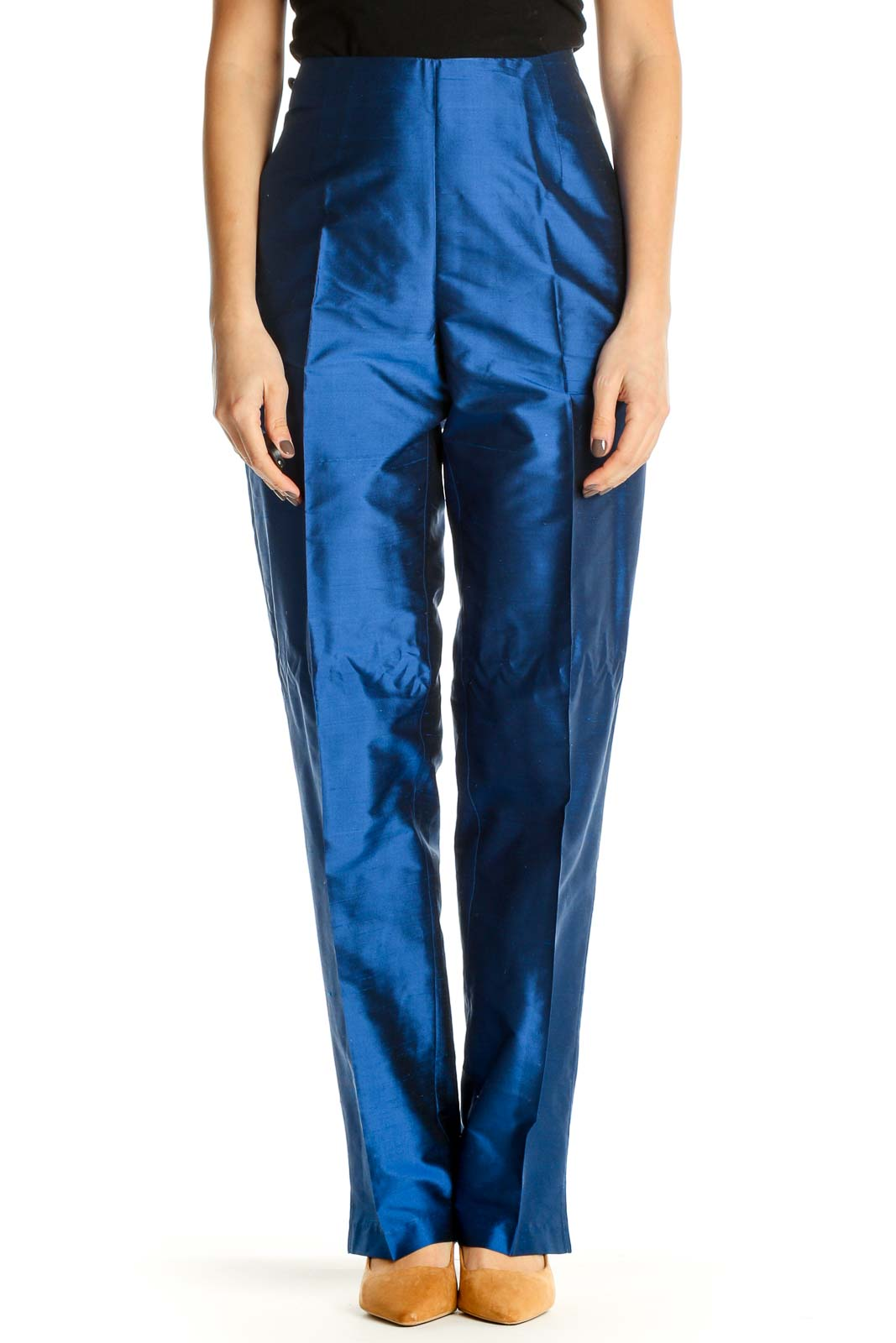 Blue Textured Party Wear Trousers Front