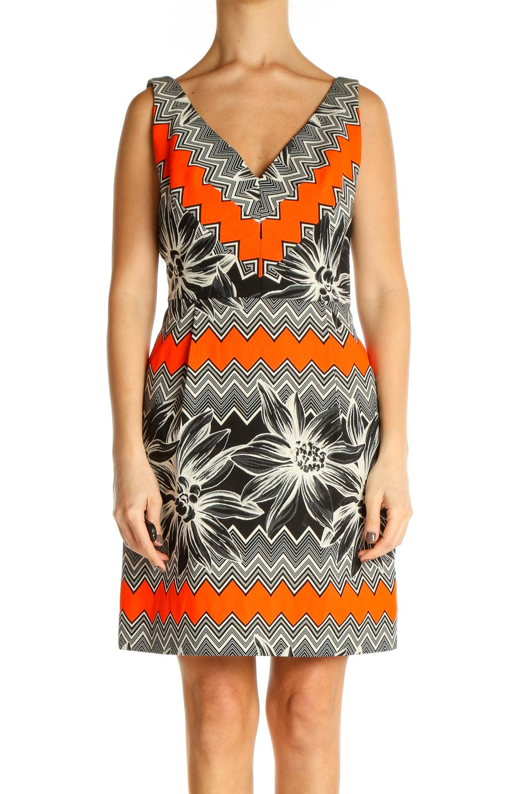 Orange Day Sheath Dress Front