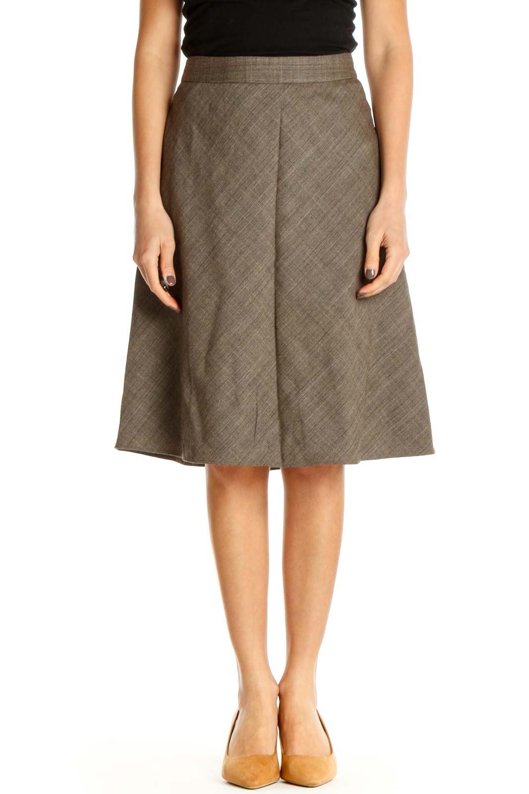Brown Classic A-Line Skirt Front