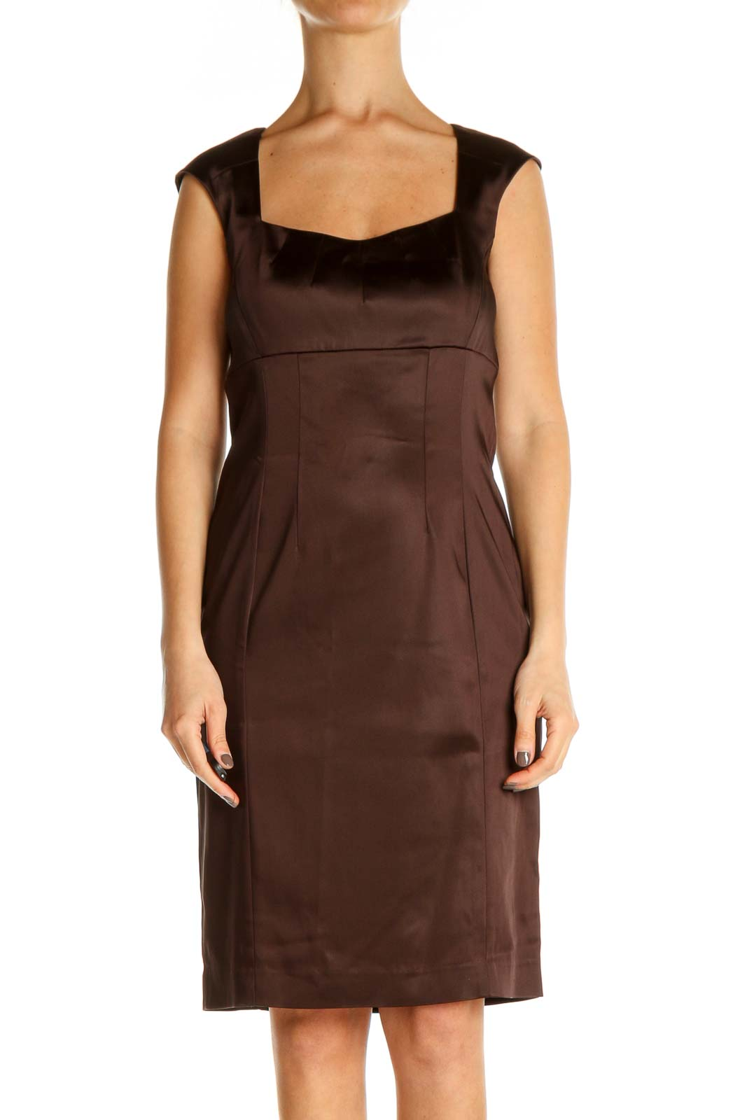 Brown Solid Classic Sheath Dress Front