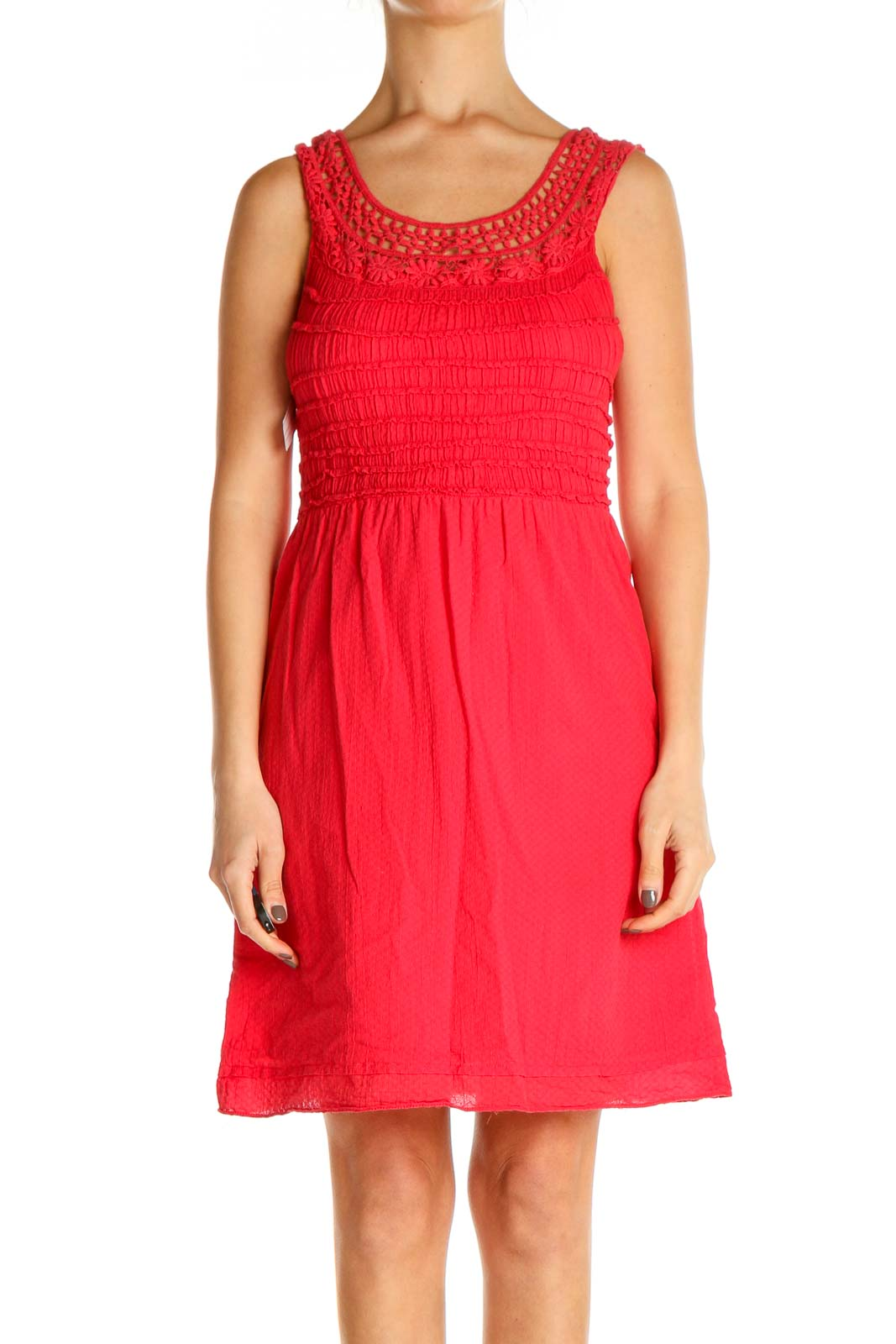 Pink Textured Classic Fit & Flare Dress Front