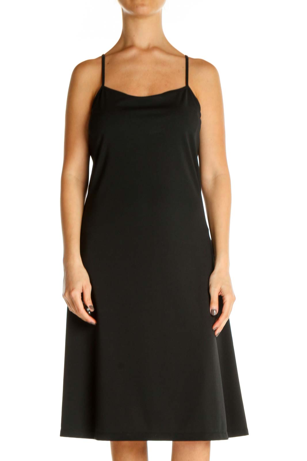 Black Solid Classic A-Line Dress Front