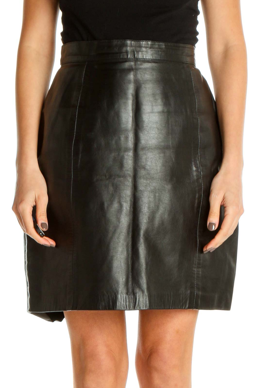 Black Retro Pencil Skirt Front