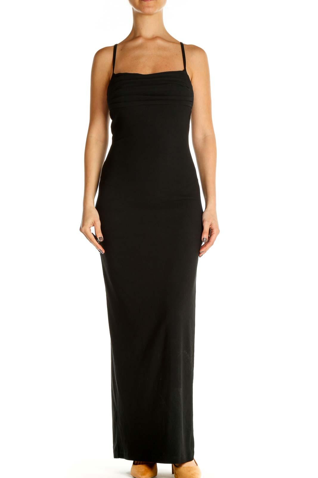 Black Solid Cocktail Column Dress Front