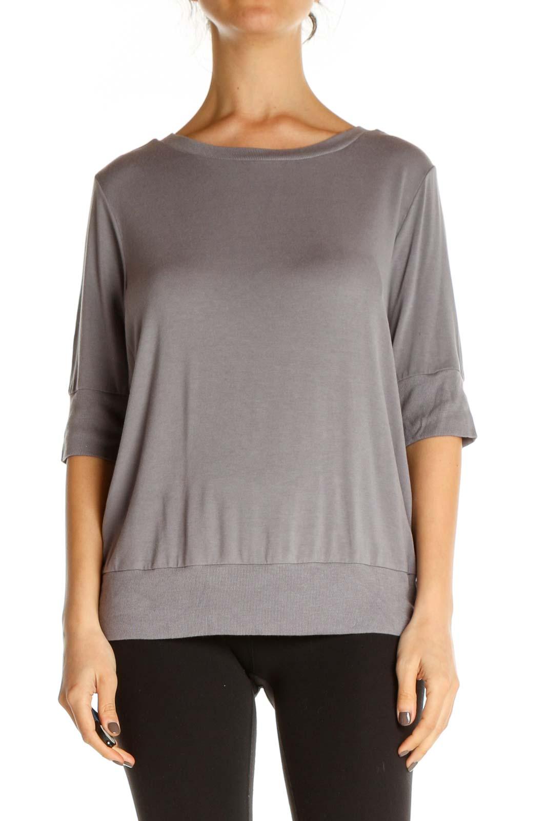 Gray Solid All Day Wear Blouse Front