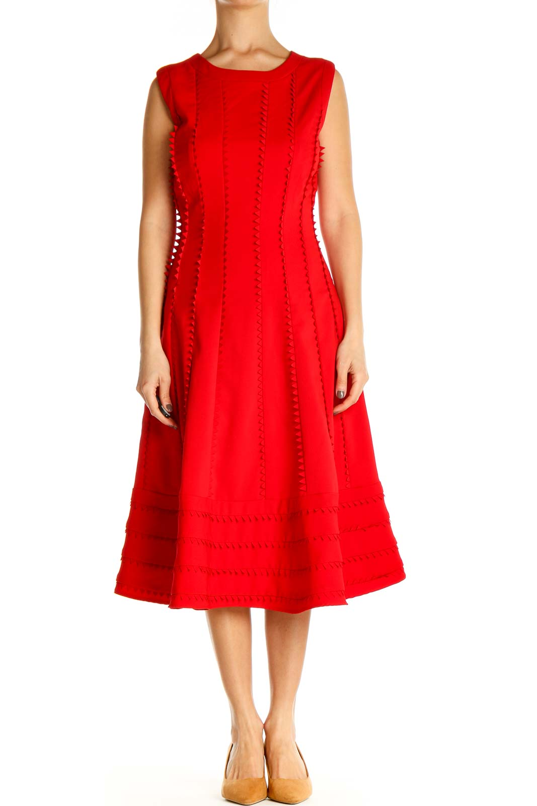 Red Solid Day Fit & Flare Dress Front