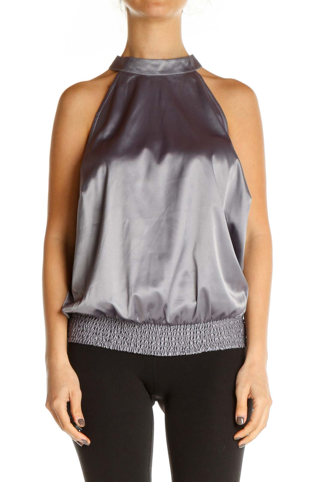 Gray Solid Retro Blouse Front