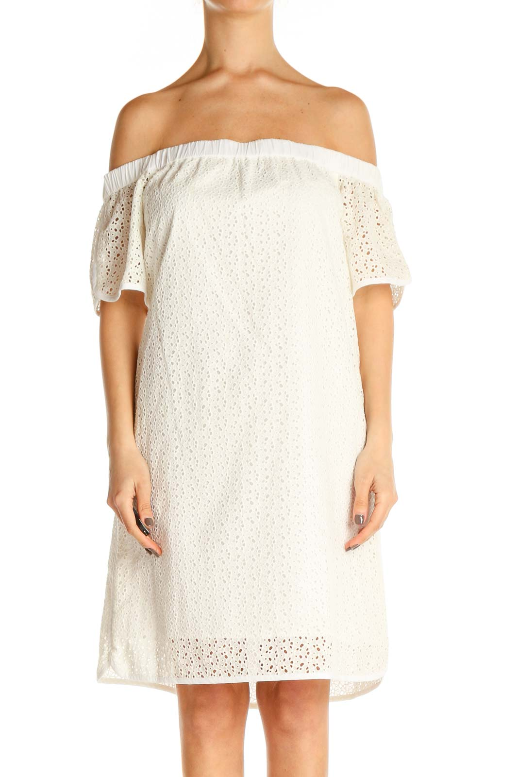 White Lace Classic Shift Dress Front