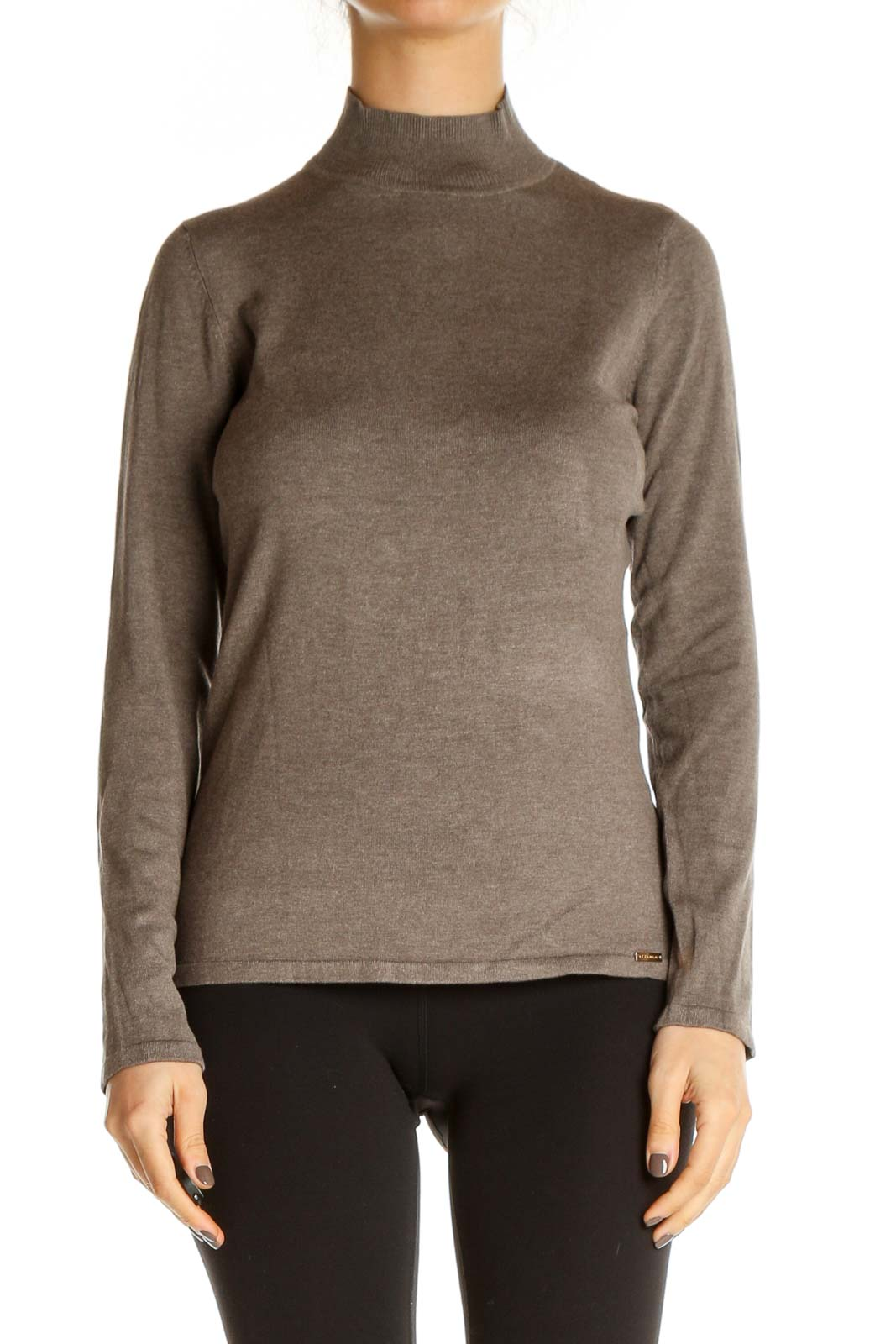 Brown Solid Classic Blouse Front