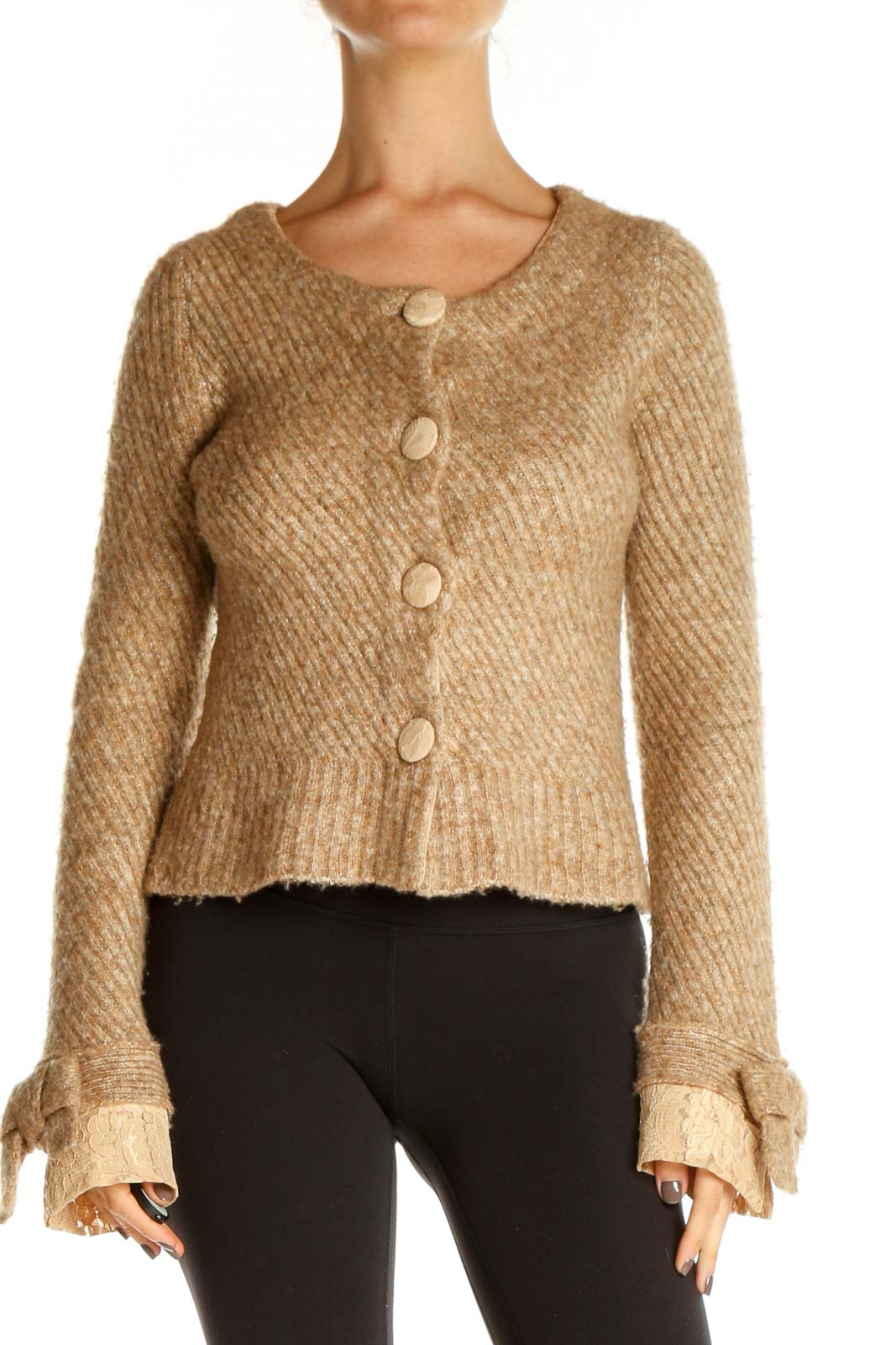 Brown Textured Retro Sweater Front