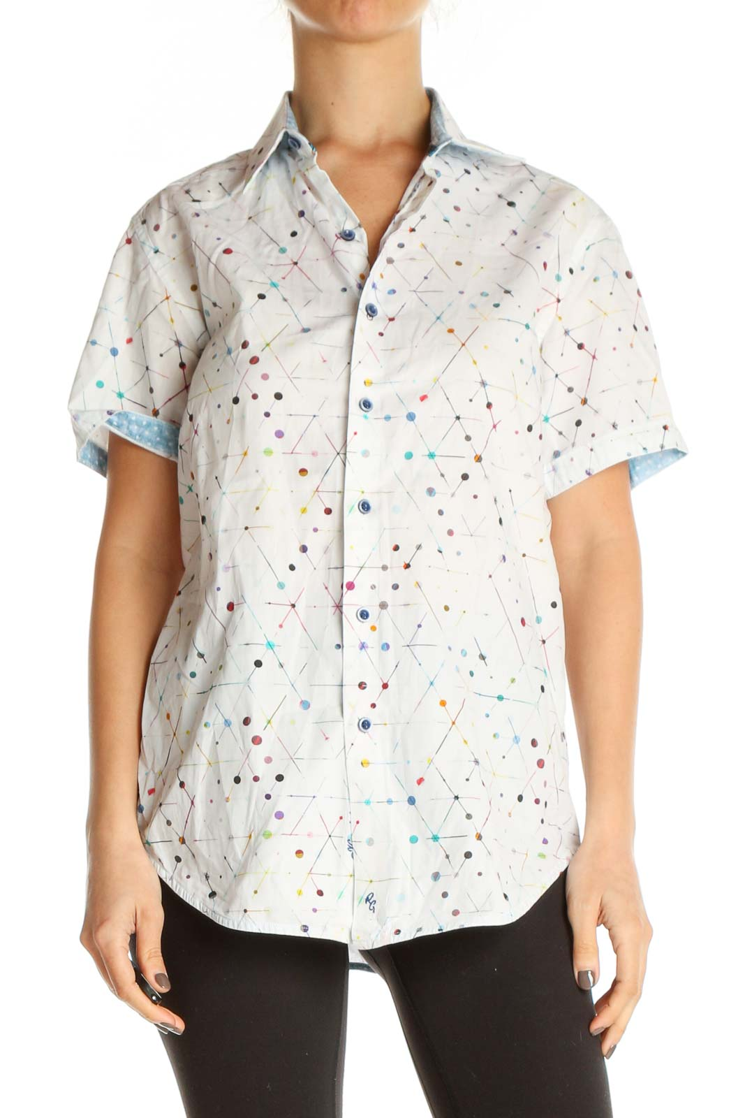 White Printed All Day Wear Shirt Front