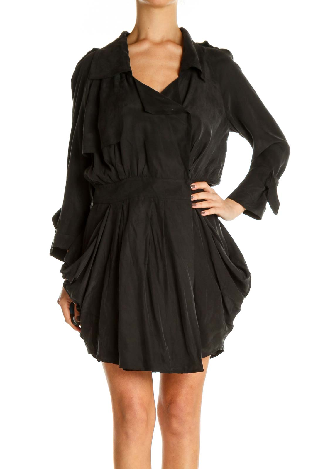 Black Solid Punk Fit & Flare Dress Front