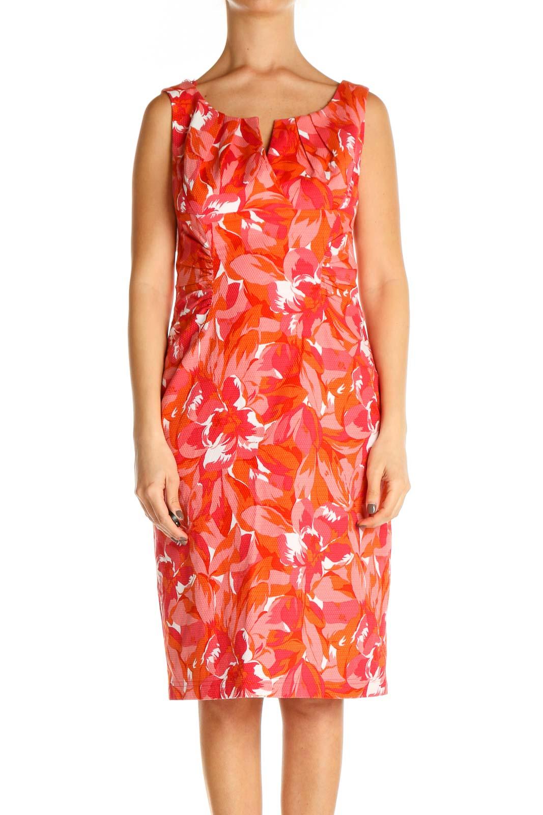 Orange Floral Print Day Sheath Dress Front