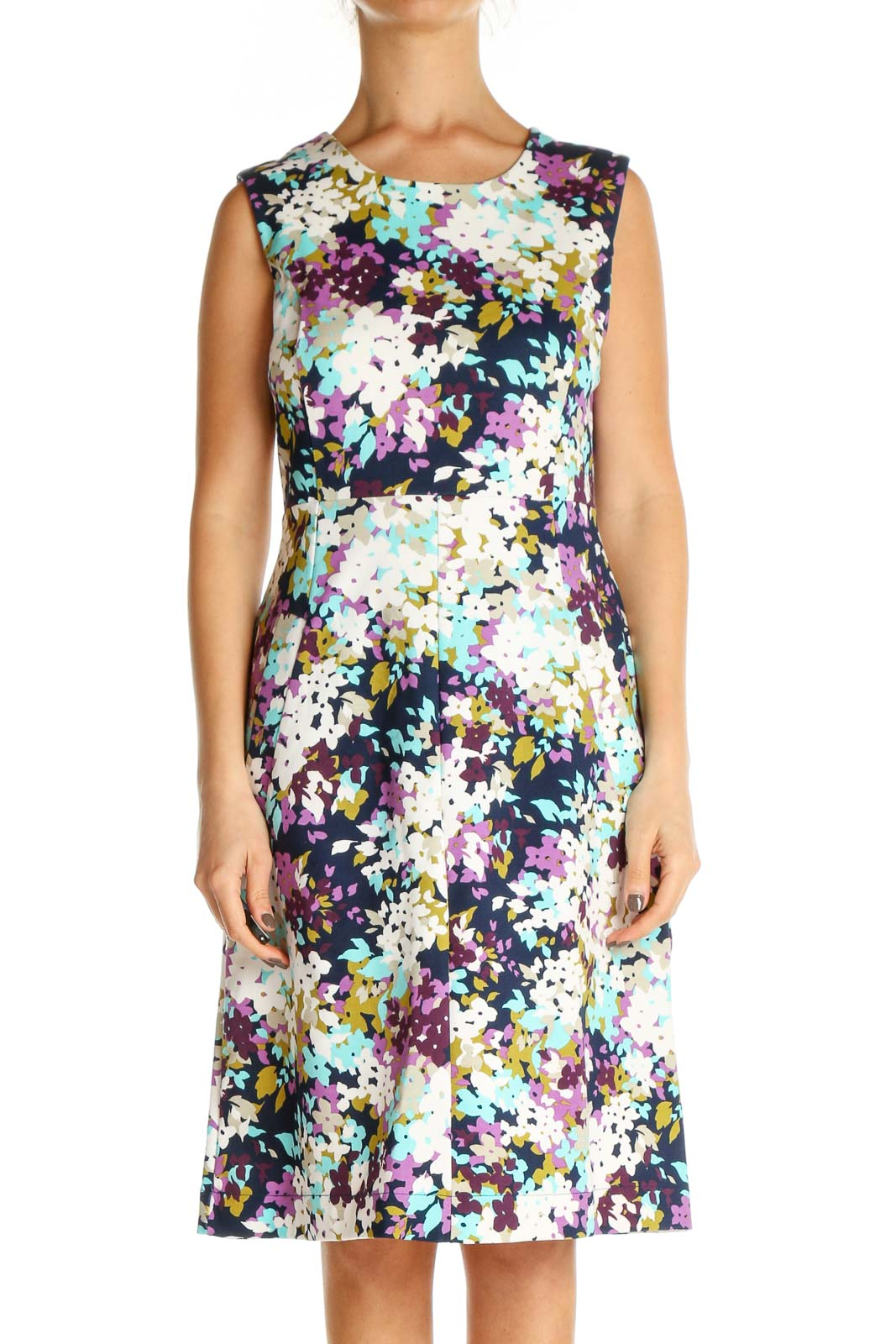White Floral Print Day Fit & Flare Dress Front