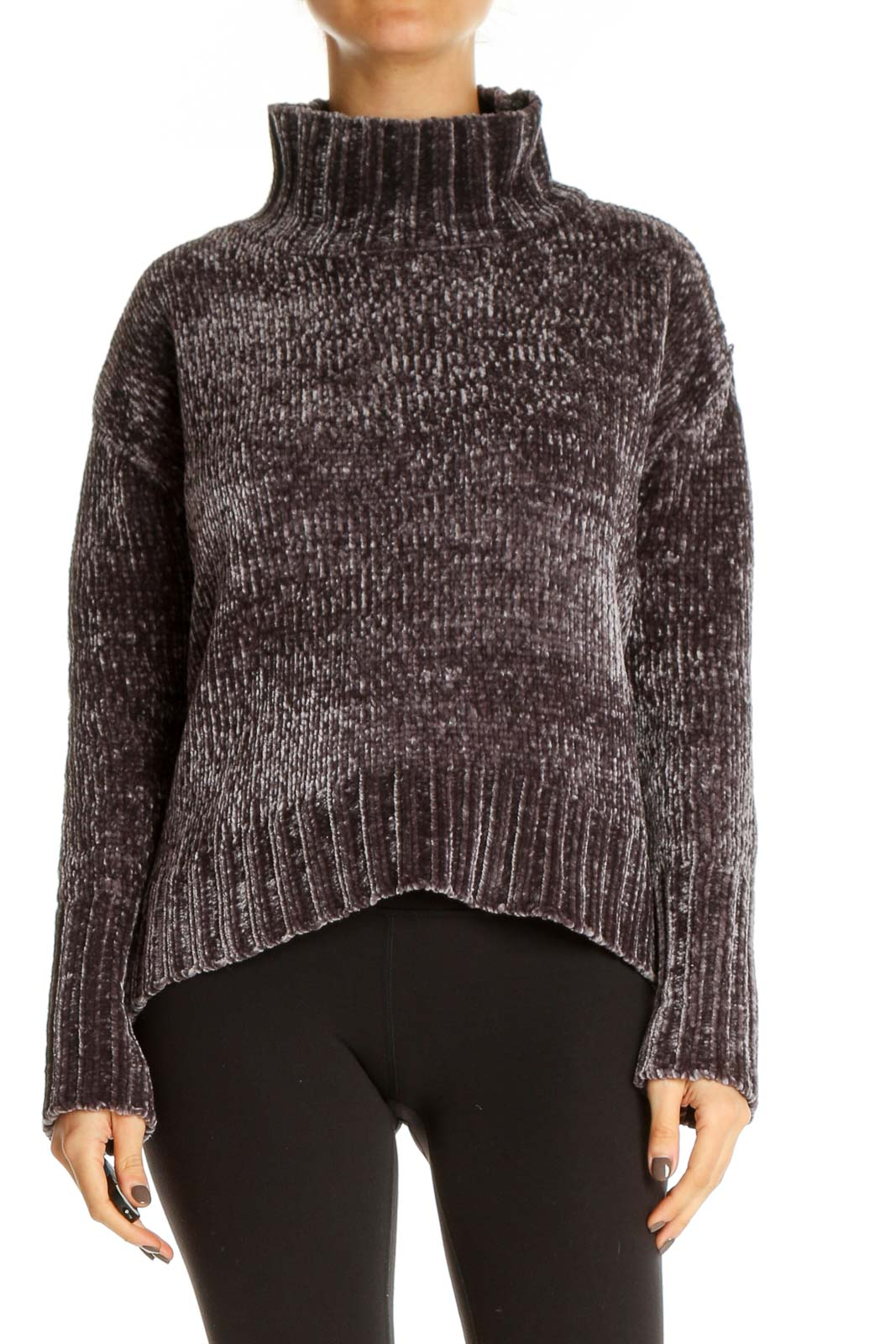 Brown Textured Casual Sweater Front