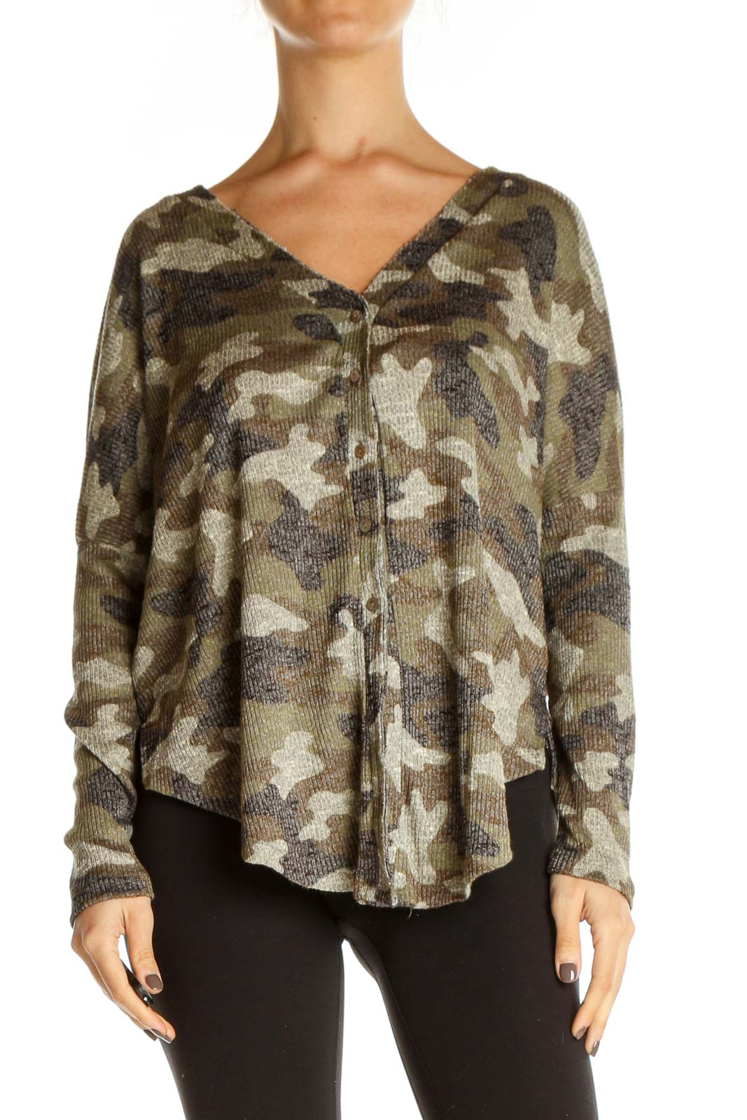 Brown Camouflage Print All Day Wear Blouse Front
