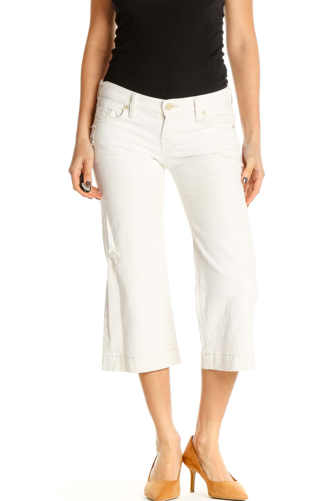 White Textured Casual Capri Pants Front