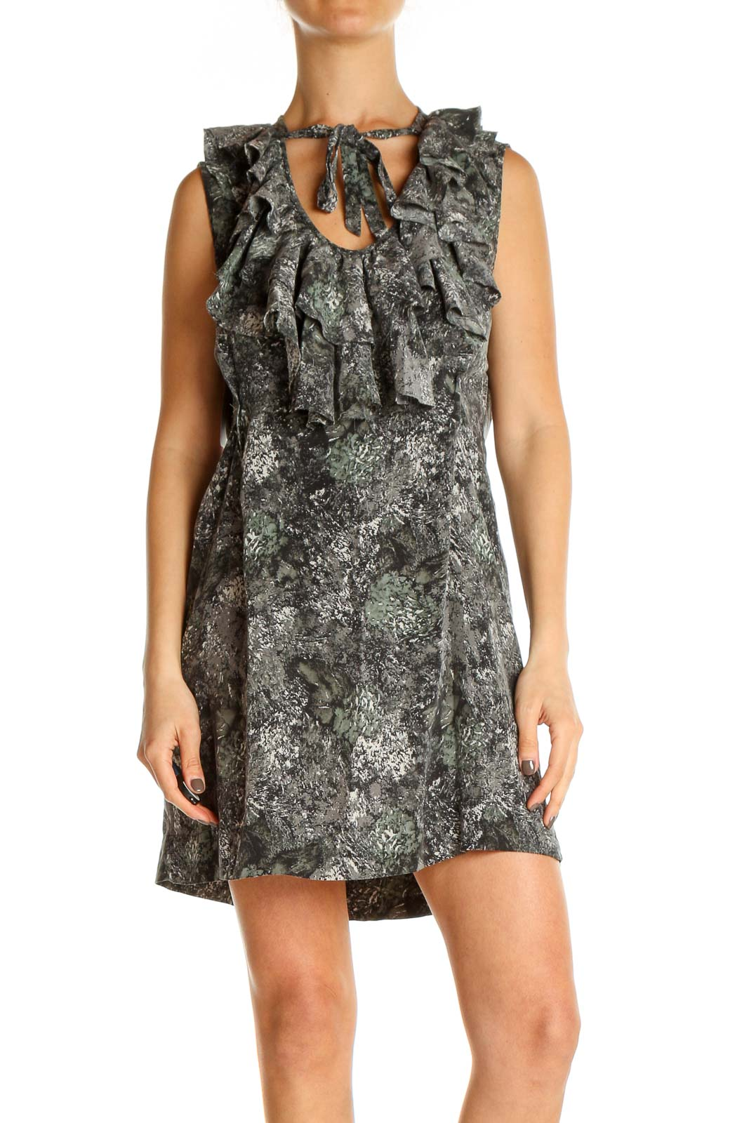 Gray Cocktail A-Line Dress Front