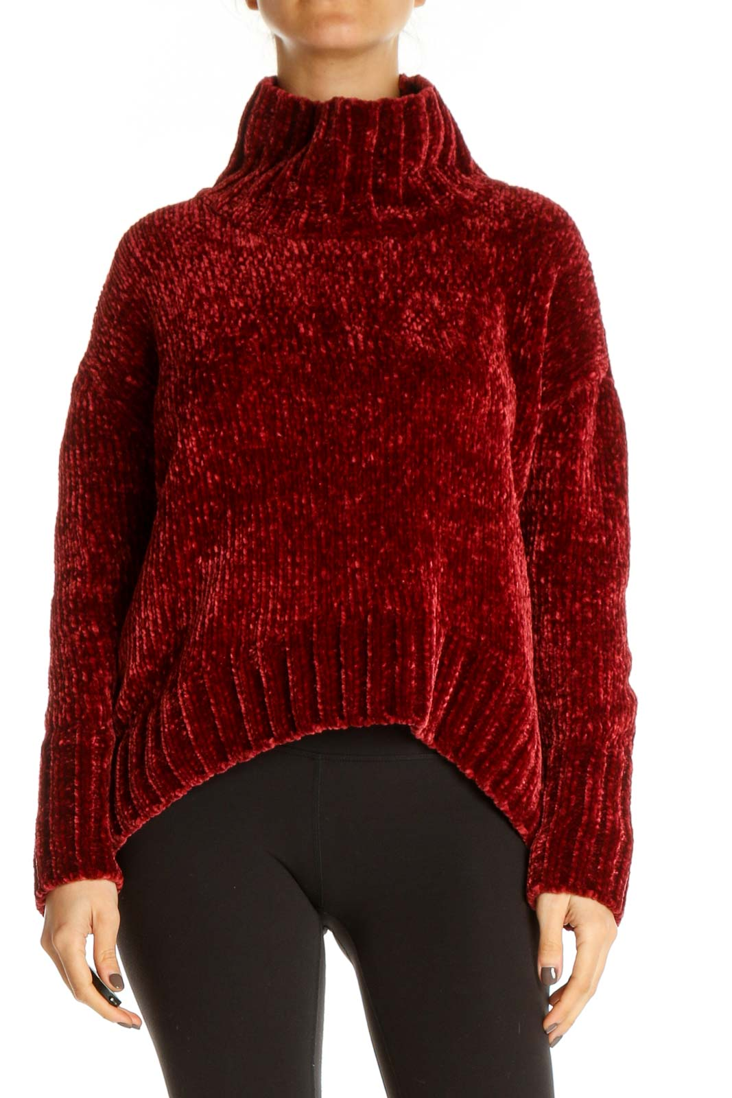 Red Textured Casual Sweater Front