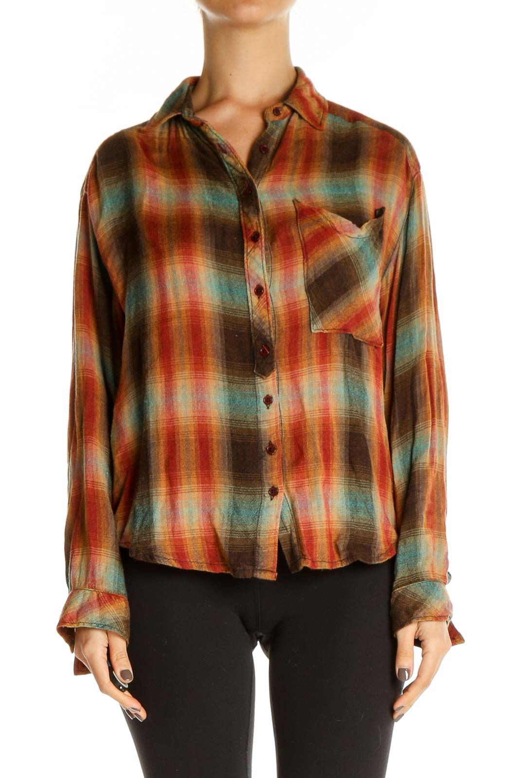 Orange Checkered All Day Wear Shirt Front