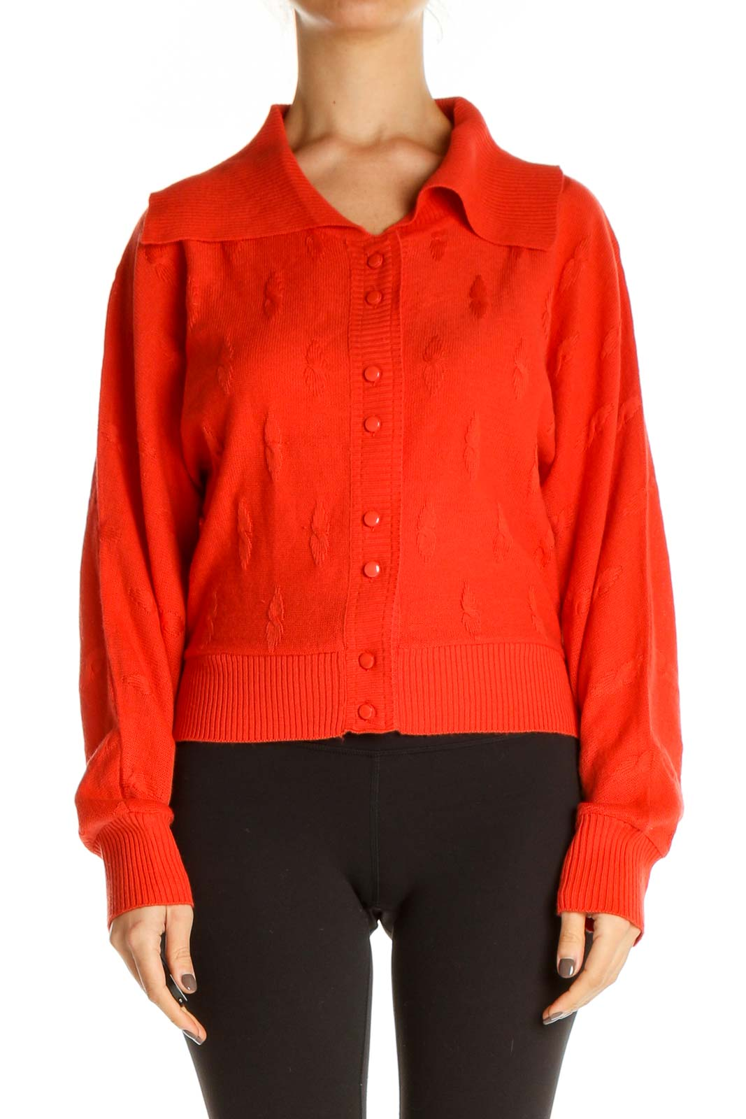 Orange Solid Retro Sweater Front