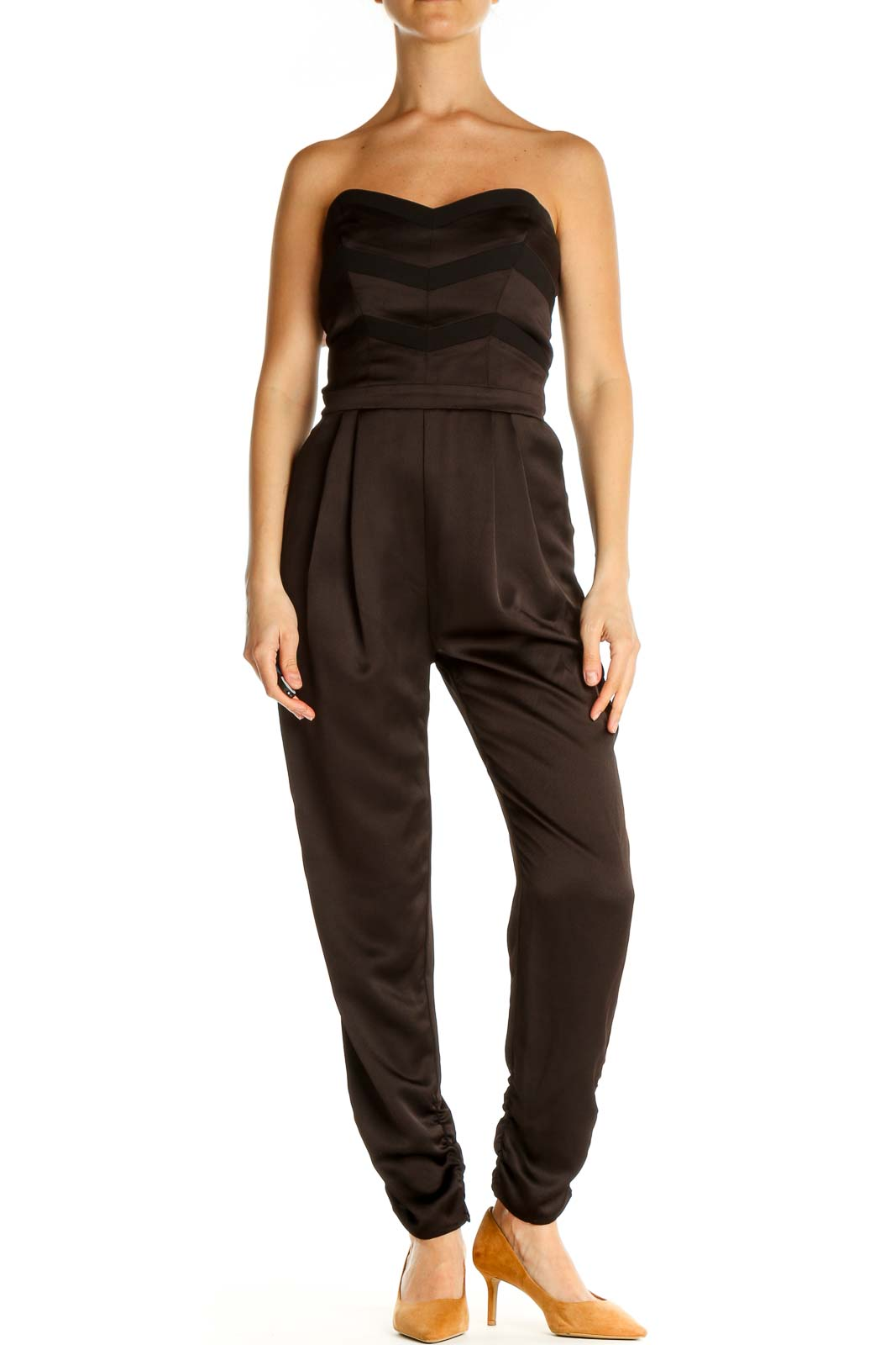 Brown Solid Jumpsuit Front