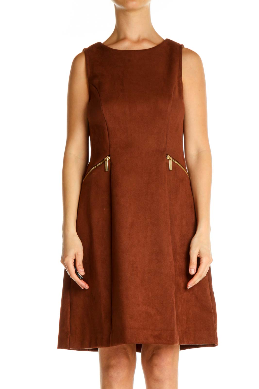 Brown Solid Classic A-Line Dress Front