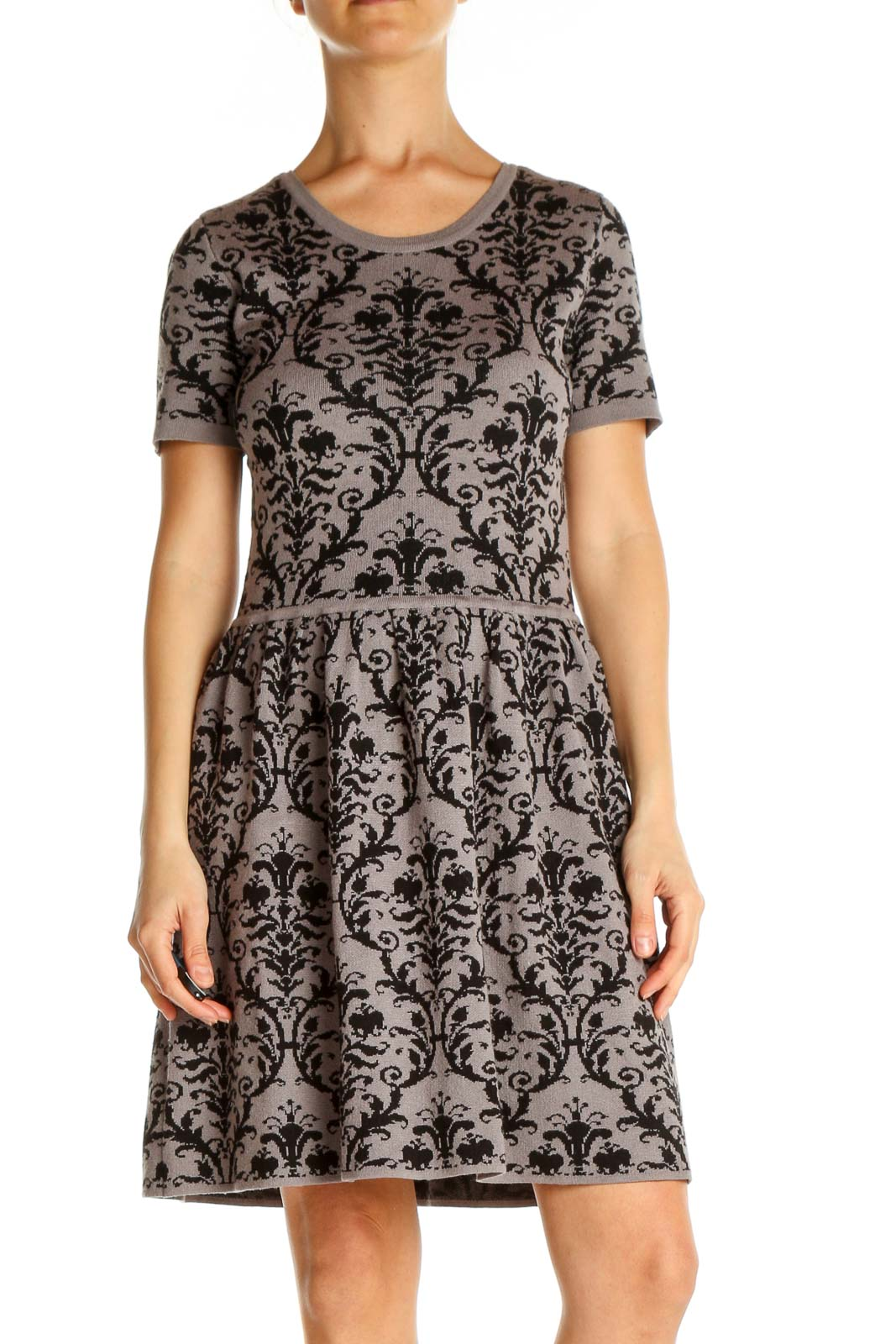 Gray Paisley Day Fit & Flare Dress Front