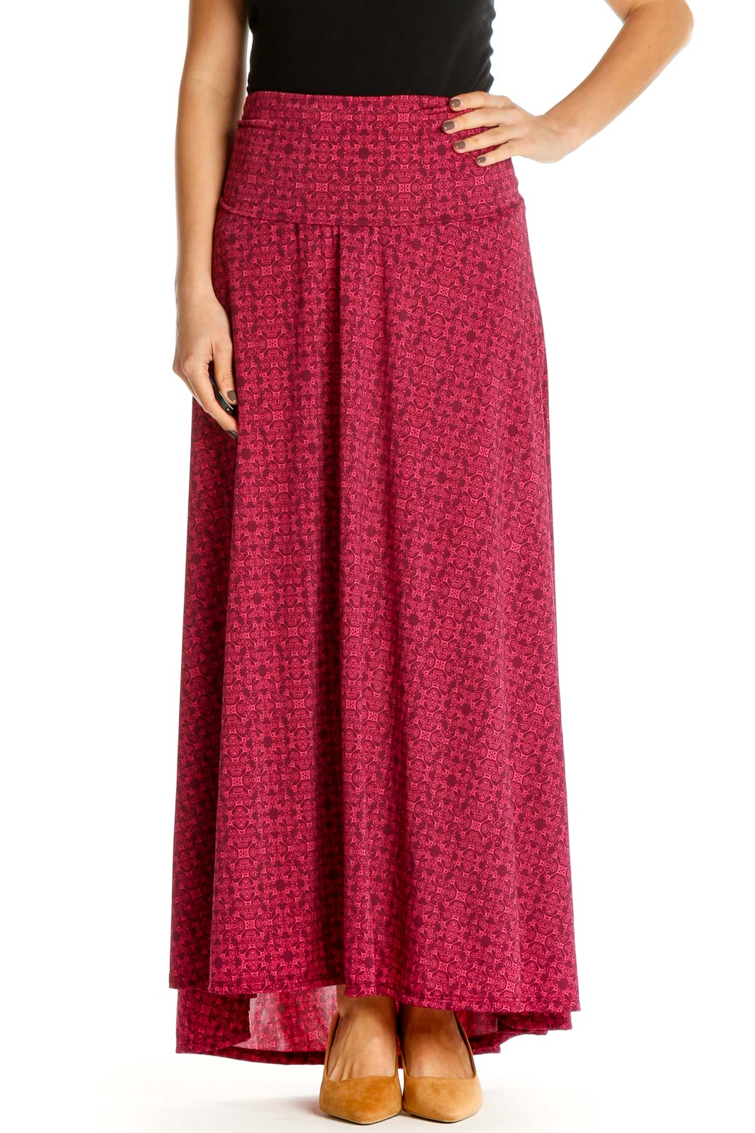 Pink Printed Retro Flared Skirt Front