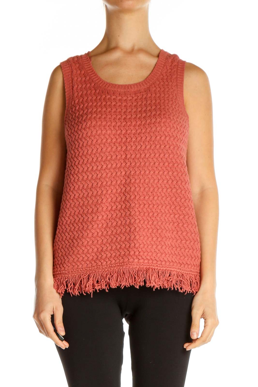 Pink Textured Sweater Front