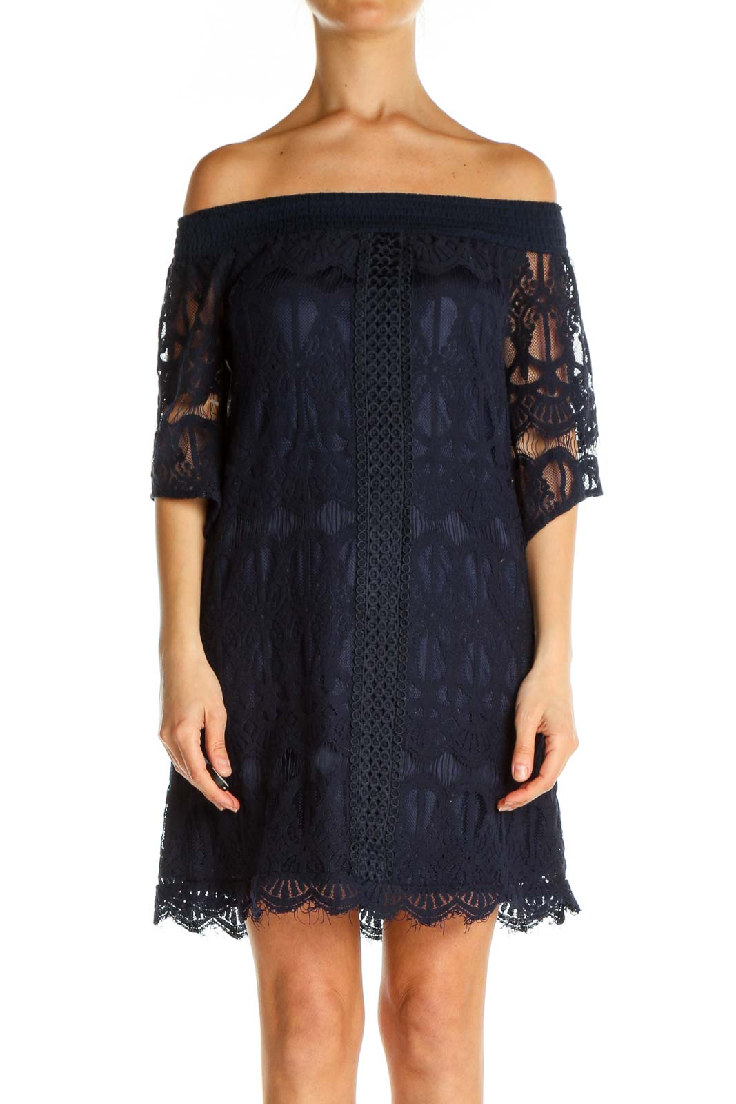 Black Lace Day Shift Dress Front