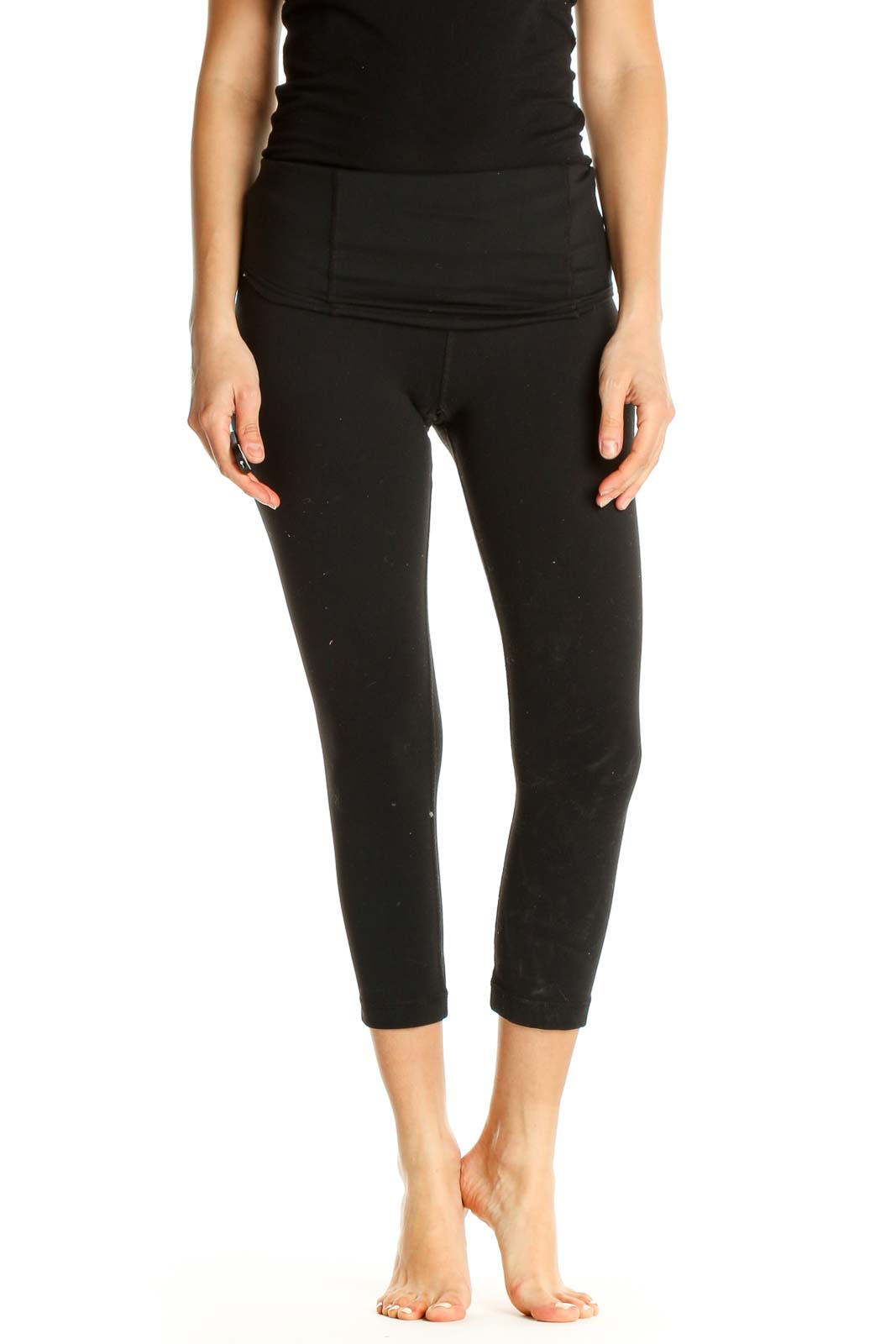 Black Solid Activewear Leggings Front