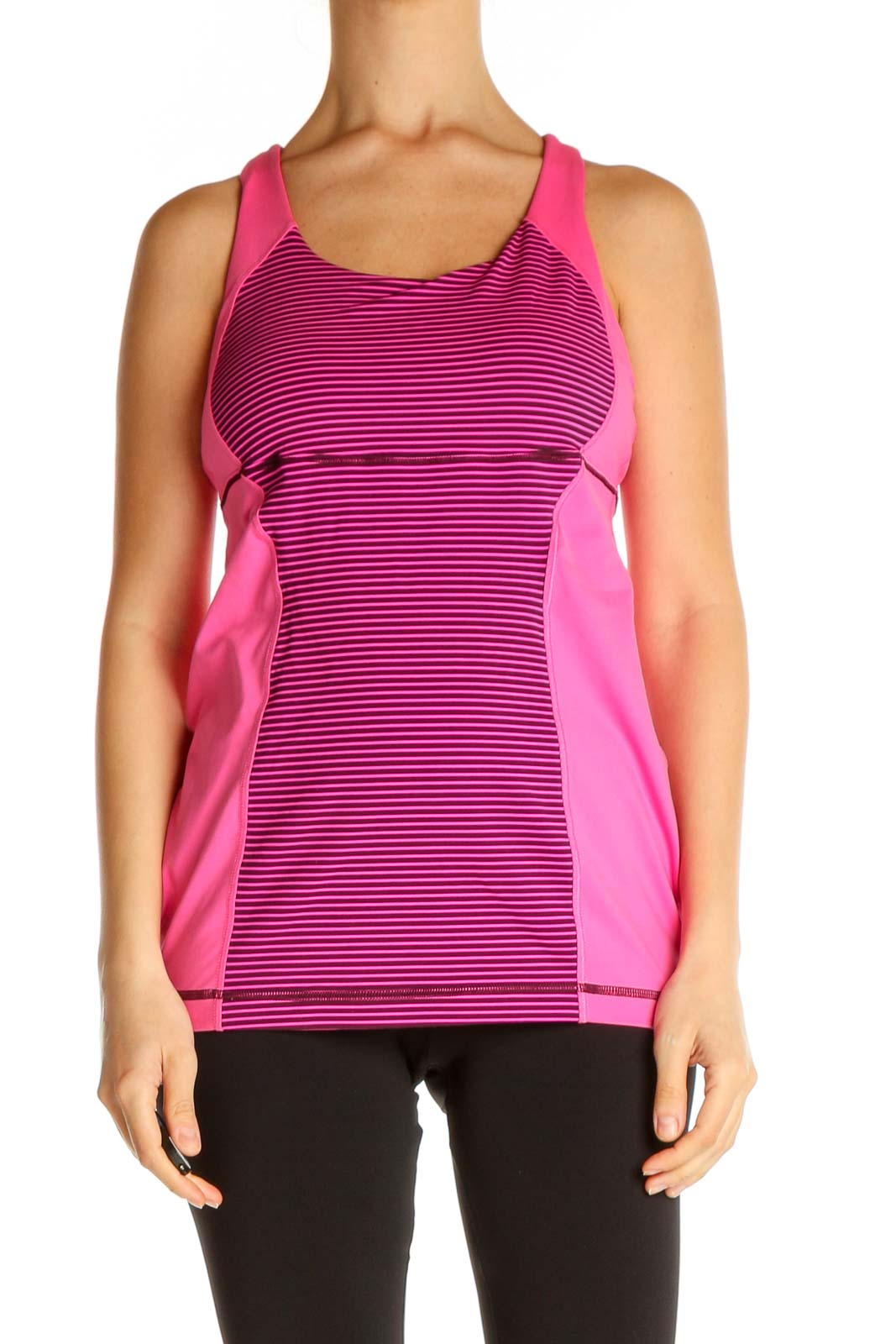 Pink Striped Activewear Tank Top Front