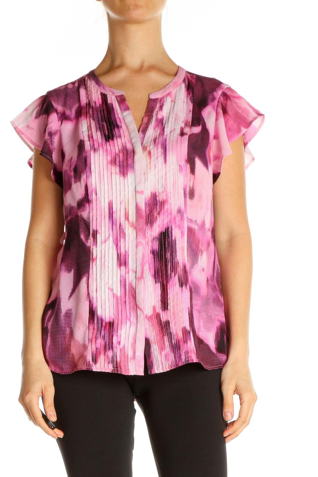 Red Printed Brunch Blouse Front