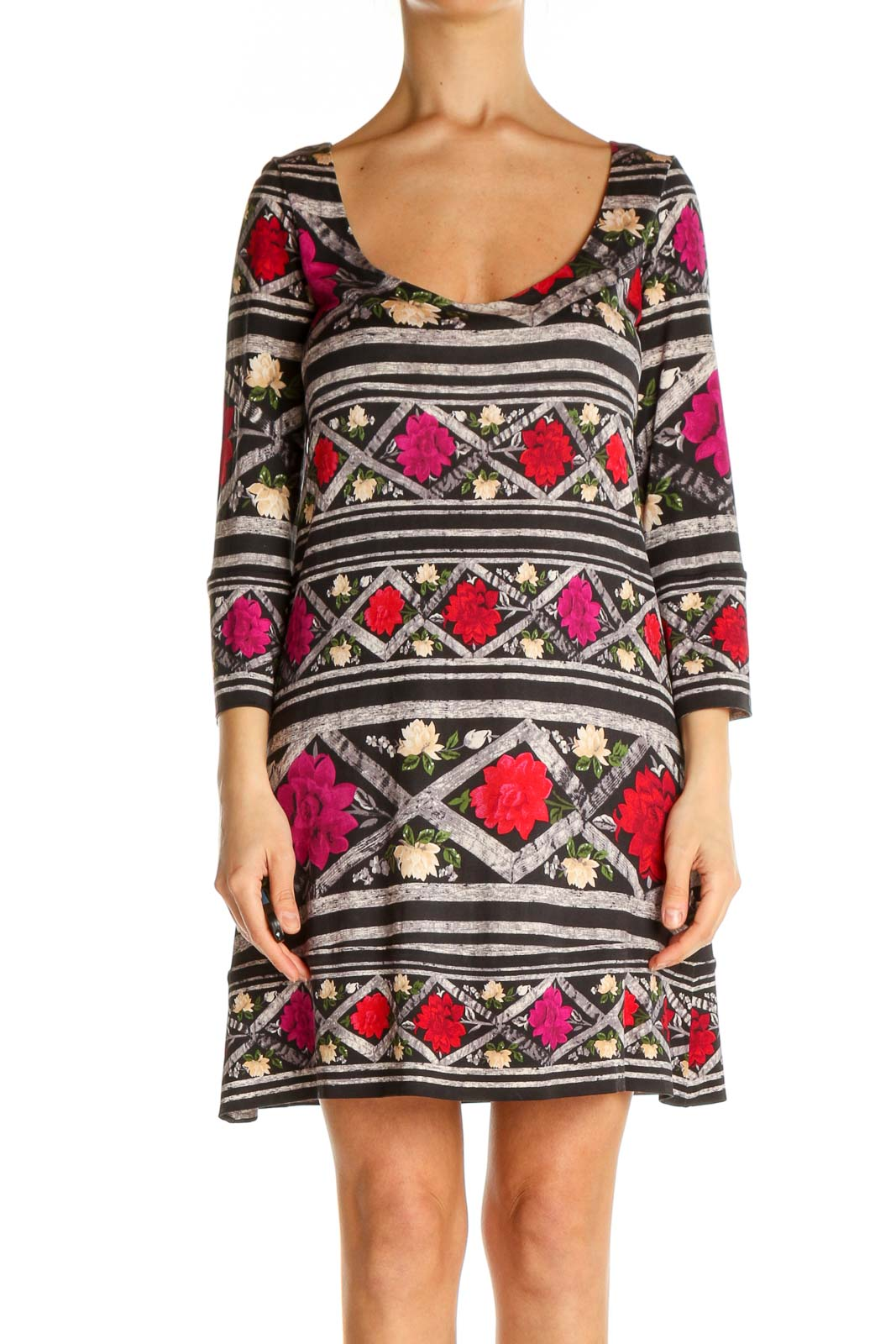 Brown Aztec Print Day Shift Dress Front