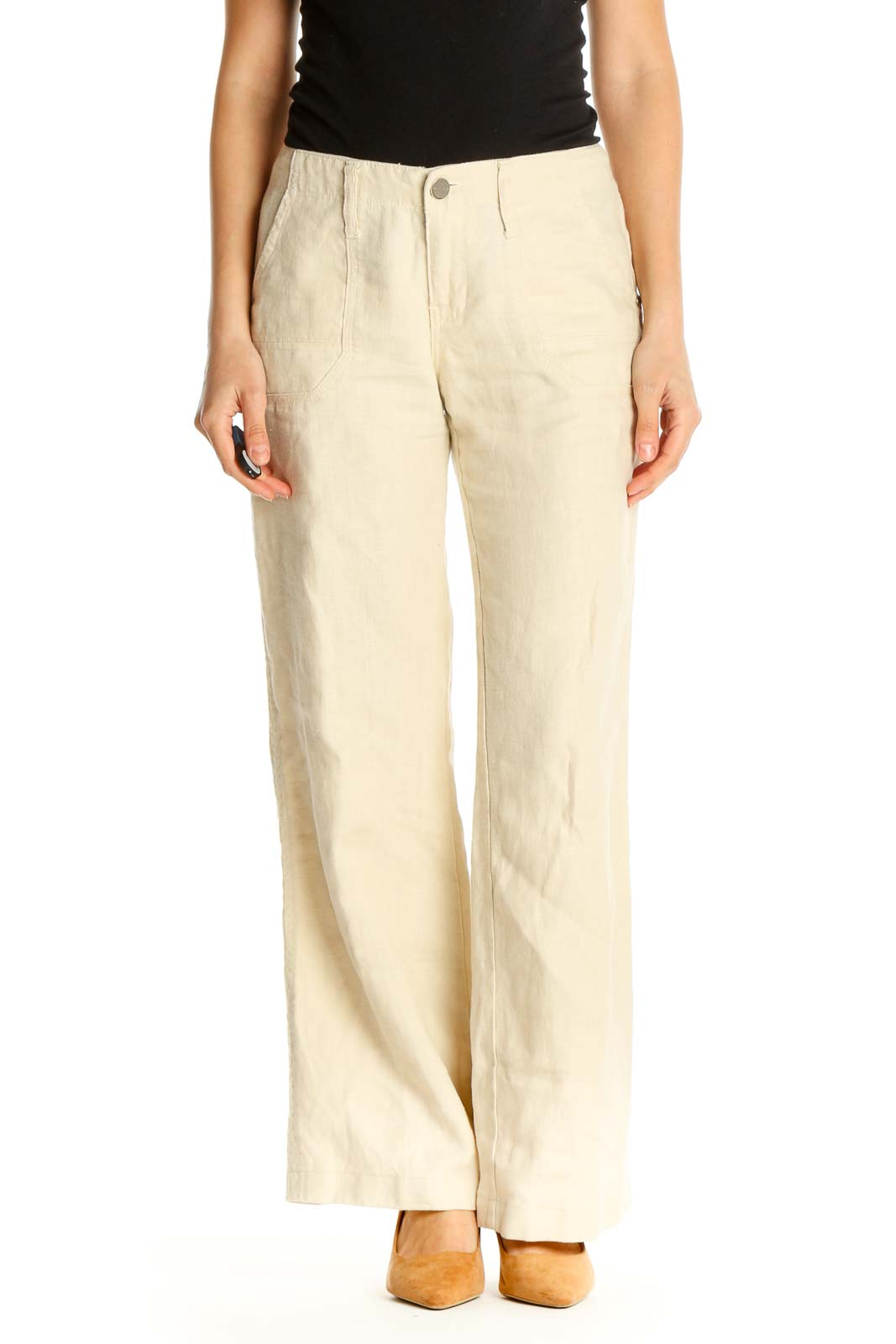 Beige Textured Casual Trousers Front