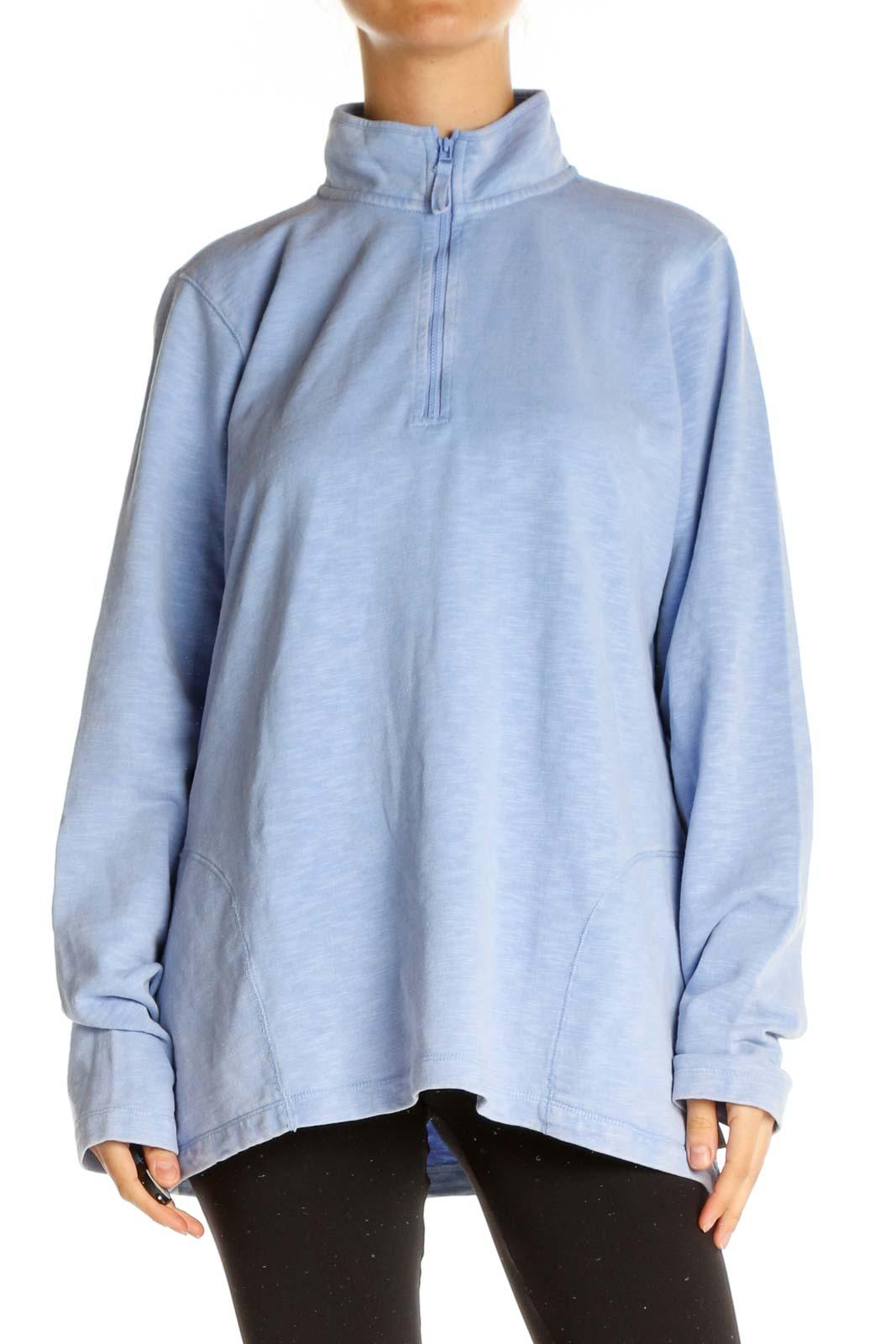 Blue Solid Sweatshirt Front