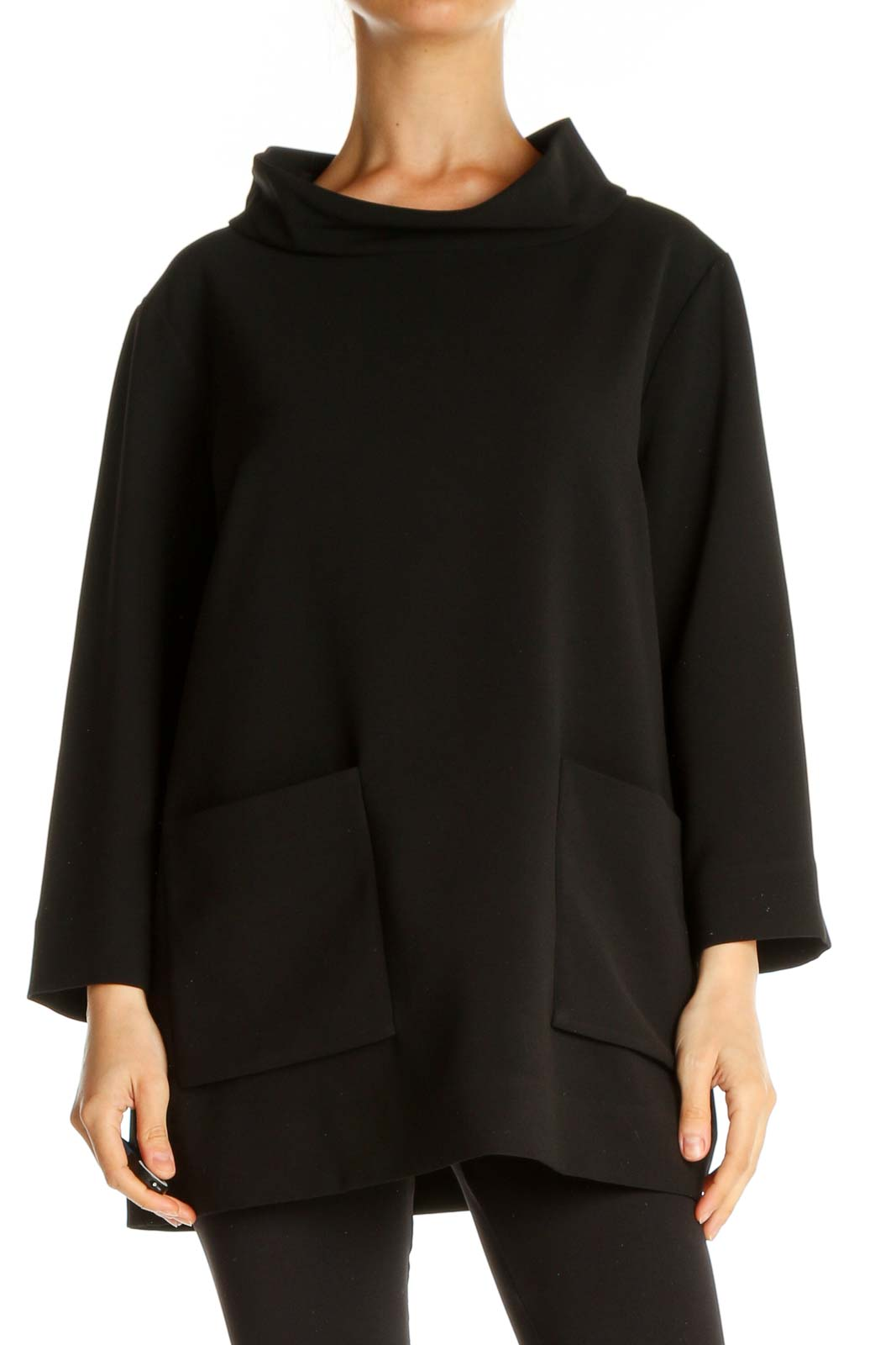 Black Solid All Day Wear Top Front