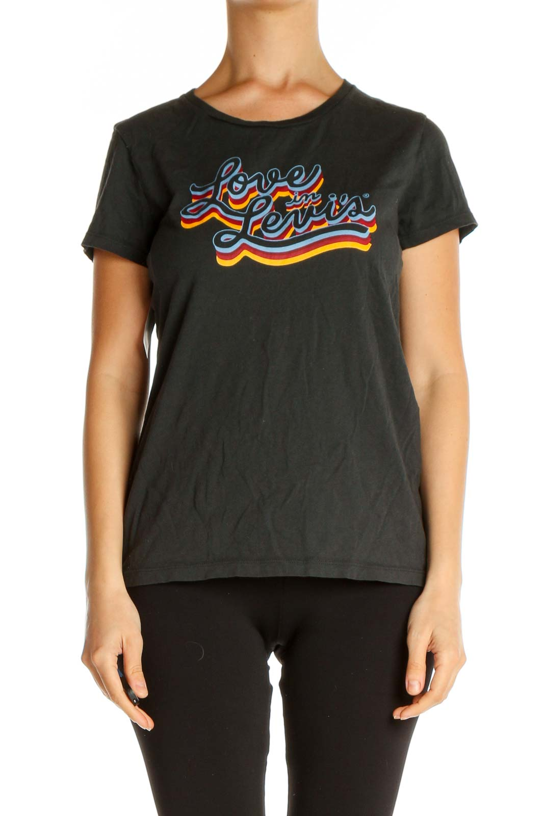 Black Graphic Print All Day Wear T-Shirt Front