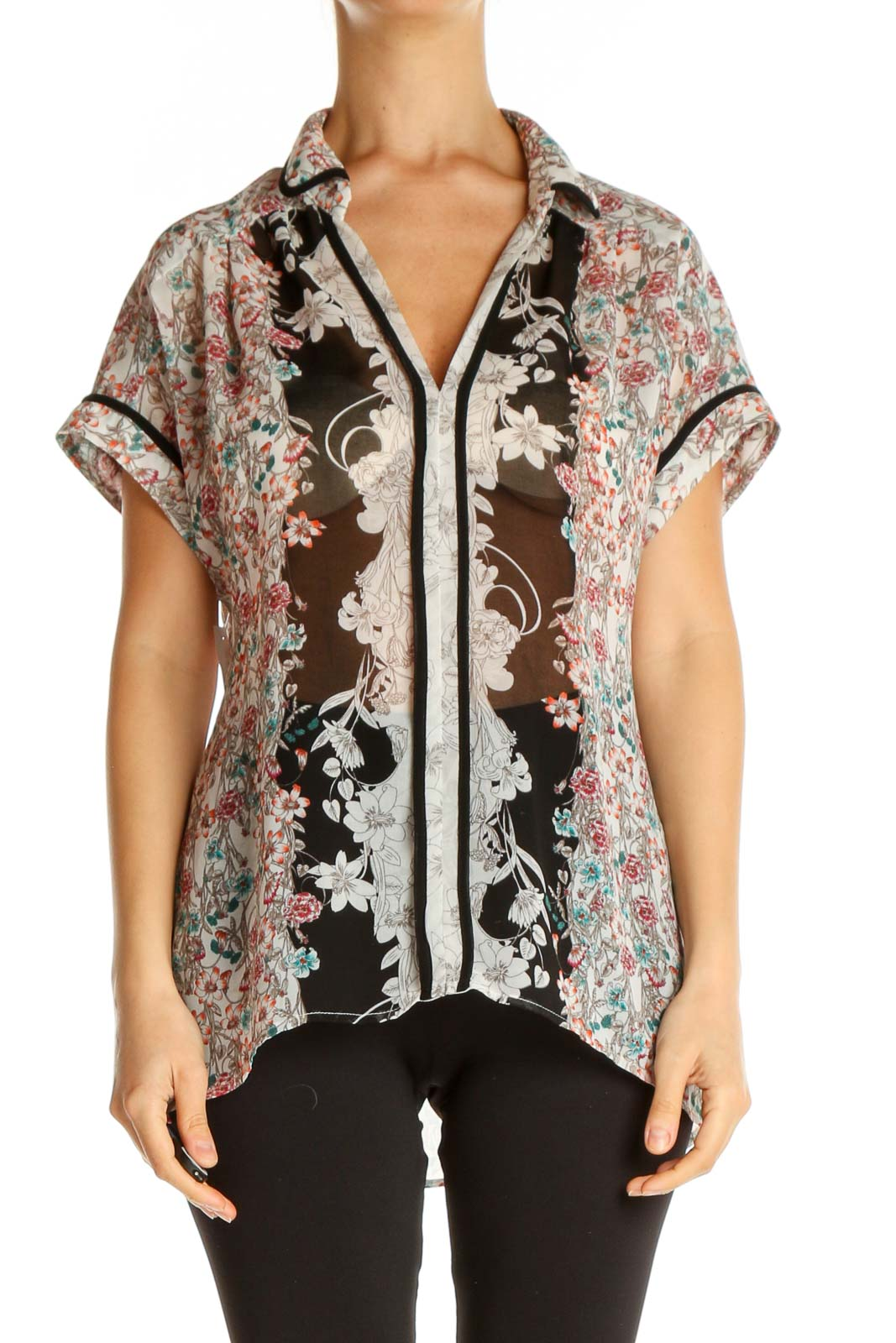 Brown Floral Print Bohemian Shirt Front