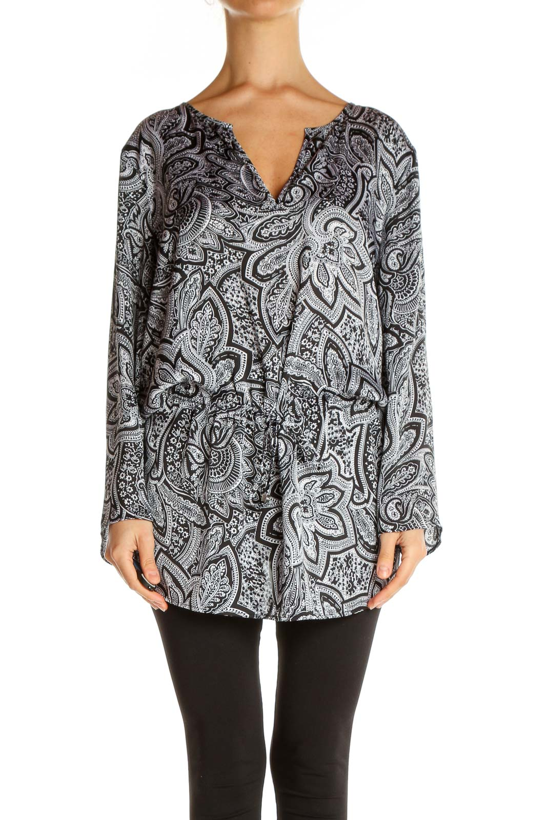 Gray Paisley All Day Wear Blouse Front