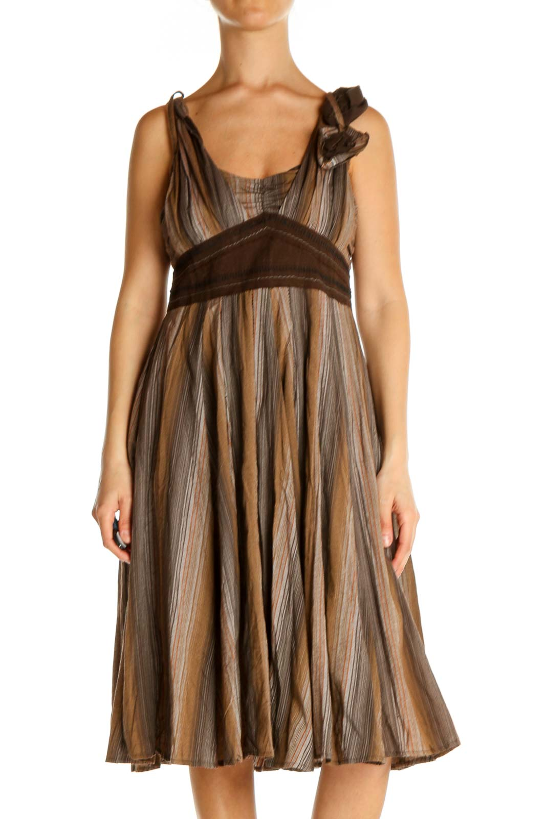 Brown Solid Day Fit & Flare Dress Front