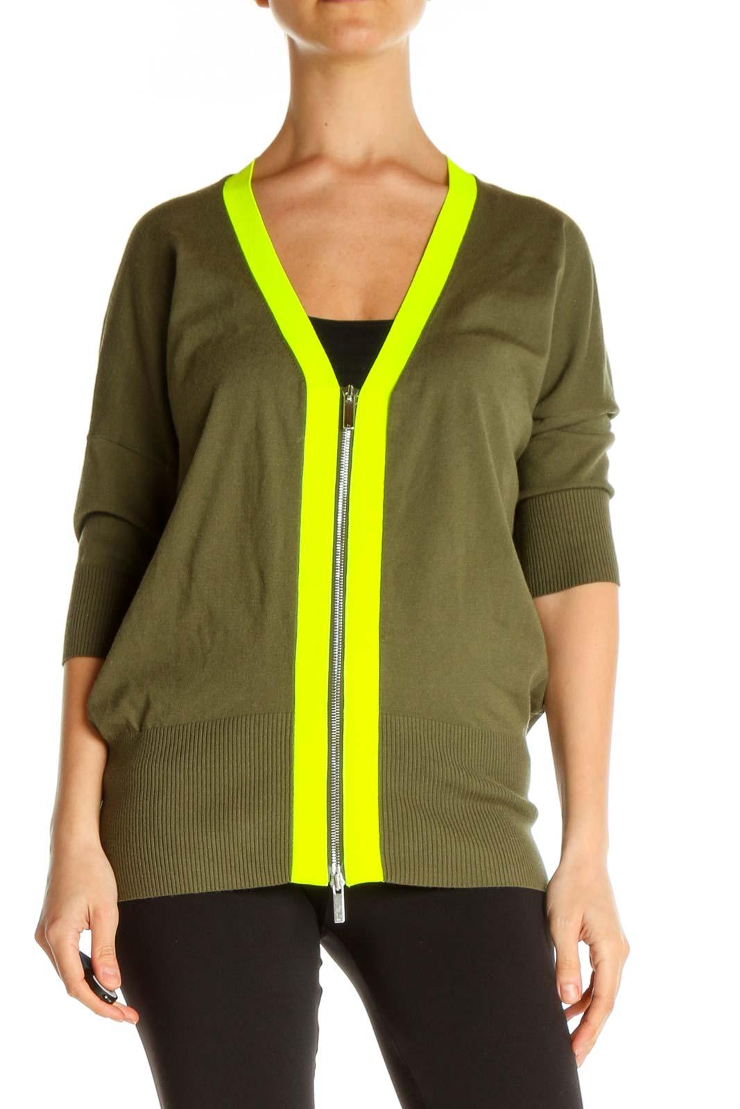 Green Colorblock Cardigan Front